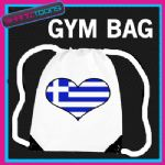 GREECE HEART FLAG HEART LOVE GYM DRAWSTRING WHITE GYMSAC BAG
